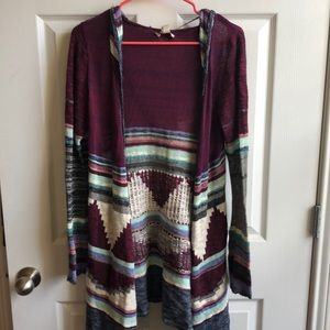 Colorful cardigan sweater with hood